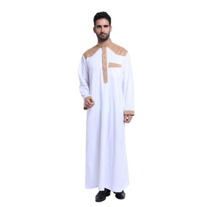 Djellaba pour homme blanc avec manches longues et poche.