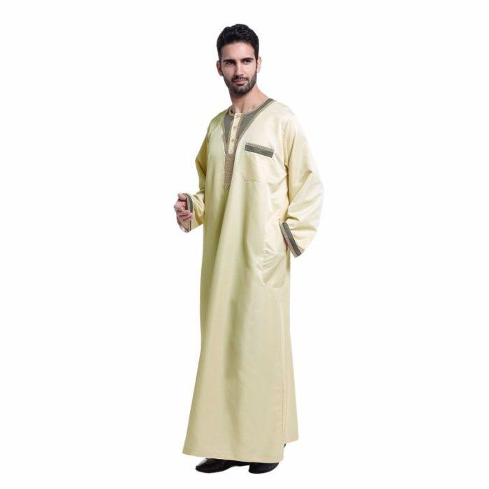 Qamis pour homme jaune avec manches longues et poche.