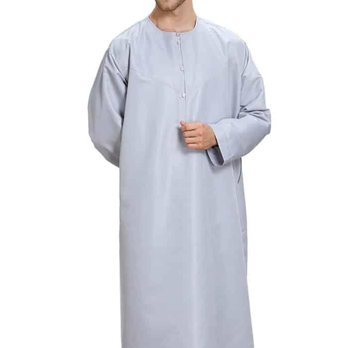 Qamis homme gris satiné Dubai