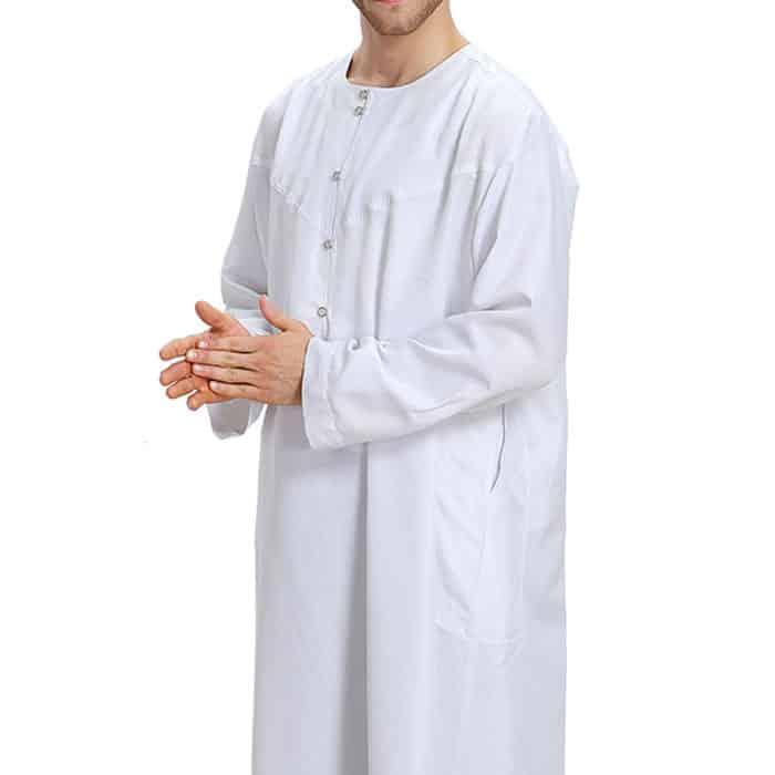 Qamis homme blanc satiné Dubai