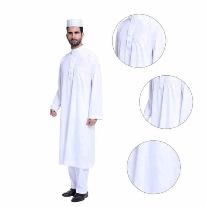 Qamis homme haut et bas blanc détails