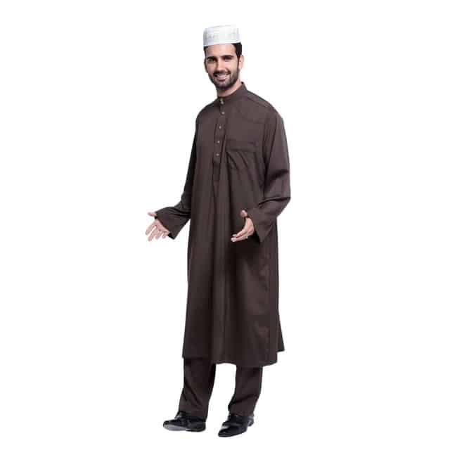 Abaya homme haut et bas noir