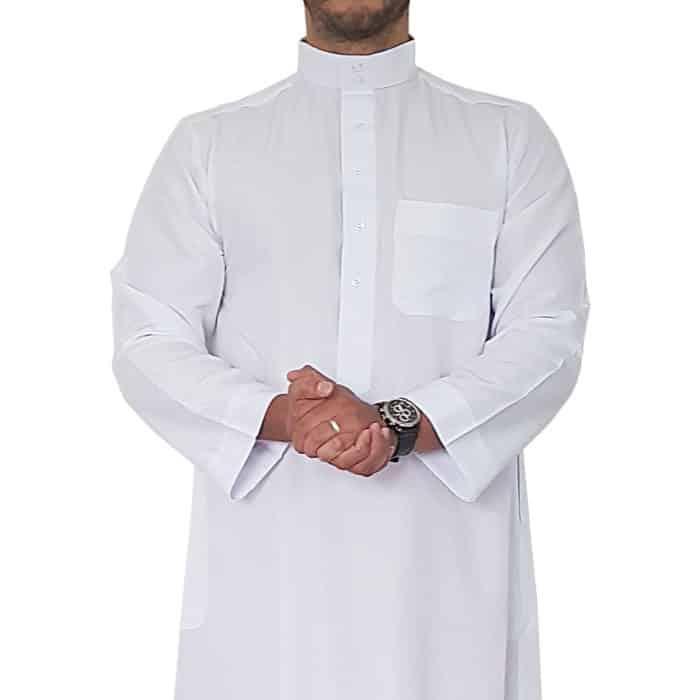 Djellaba saoudi blanc manches longues Face