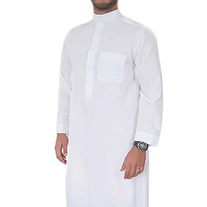 Djellaba saoudi blanc manches longues